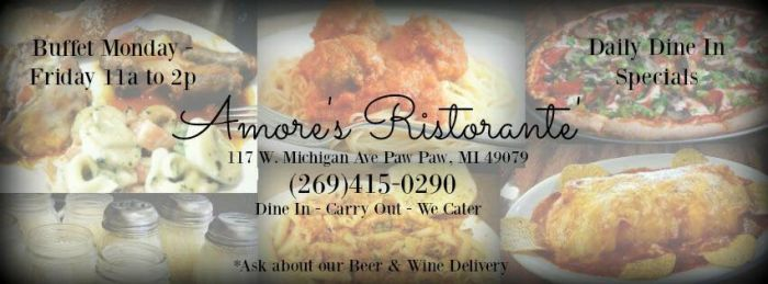 Amore's Pizza Ristorante and Sports Lounge in Paw Paw - $20 Certificate for $10